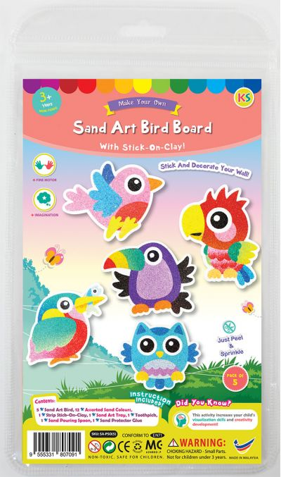 5-in-1 Sand Art Bird Board Kit - Packaging Front