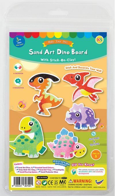 5-in-1 Sand Art Dino Board Kit - Packaging Front