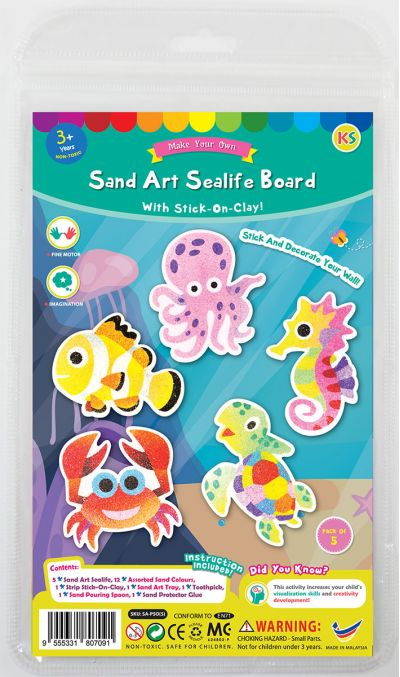 5-in-1 Sand Art Sealife Board  Kit - Packaging Front