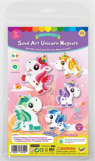 5-in-1 Unicorn Sand Art Magnet Kit - Packaging Front