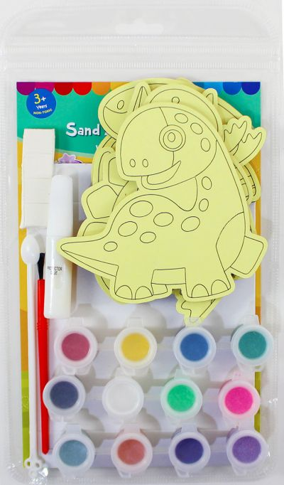 5-in-1 Sand Art Dino Board Kit - Packaging Back