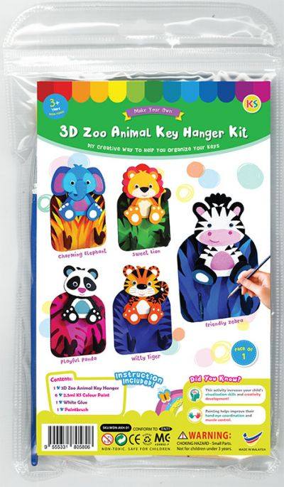 3D Zoo Animal Key Hanger Kit - Packaging Front