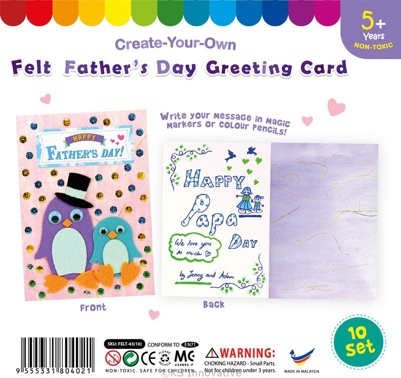 Felt fathers day greeting card pack of 10 m4hsunfo