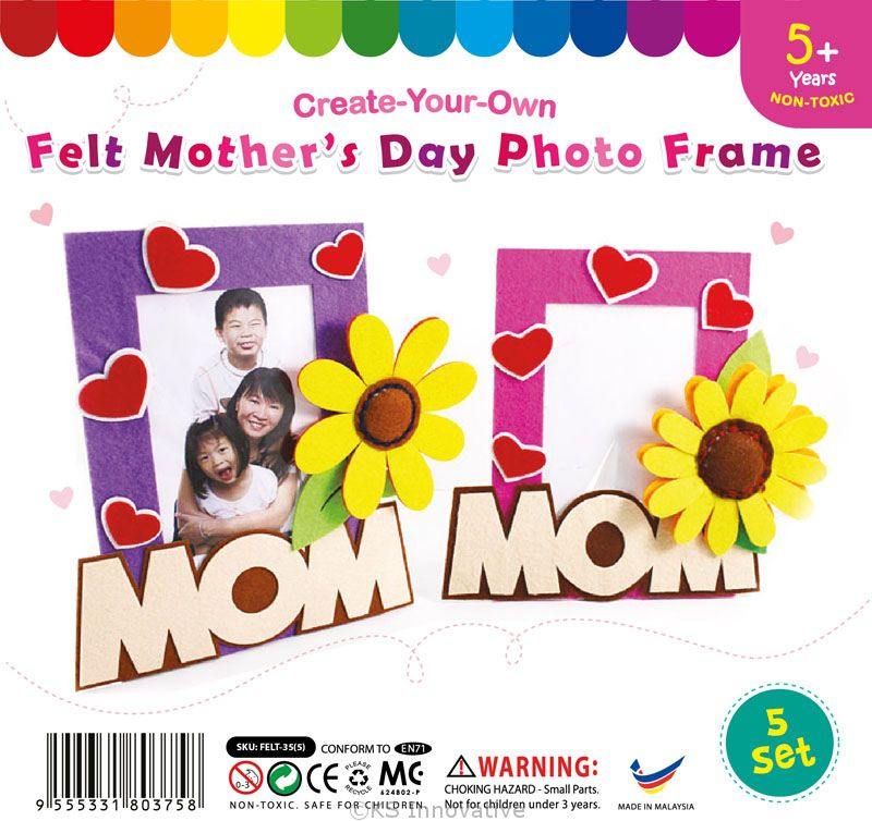 felt mothers day photo frame pack of 5 - Mothers Day Picture Frame