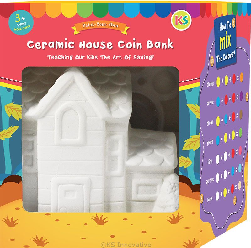 House Ceramic Coin Bank Painting Gingerbread House