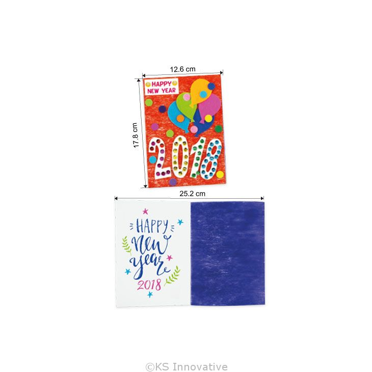 felt new year 2018 greeting card size